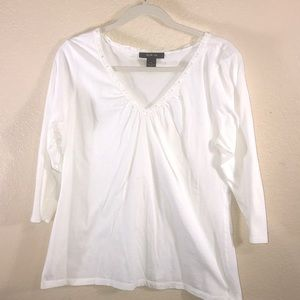 White 3/4 sleeve Blouse XL